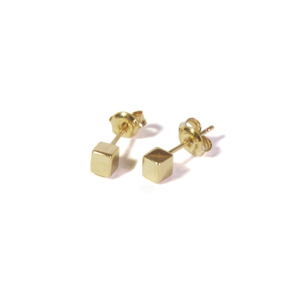 Large Cube Earrings with posts out - Yellow Gold