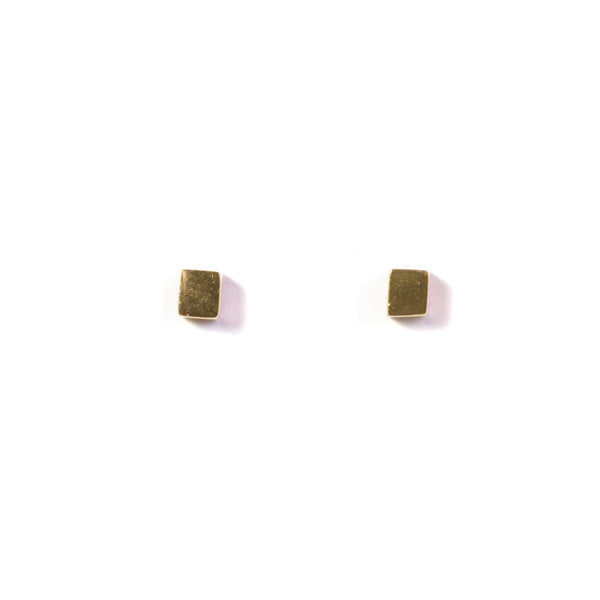 Large Cube Earring - Yellow Gold