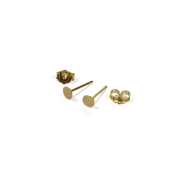 Flat Circle Earrings with posts out - Yellow Gold