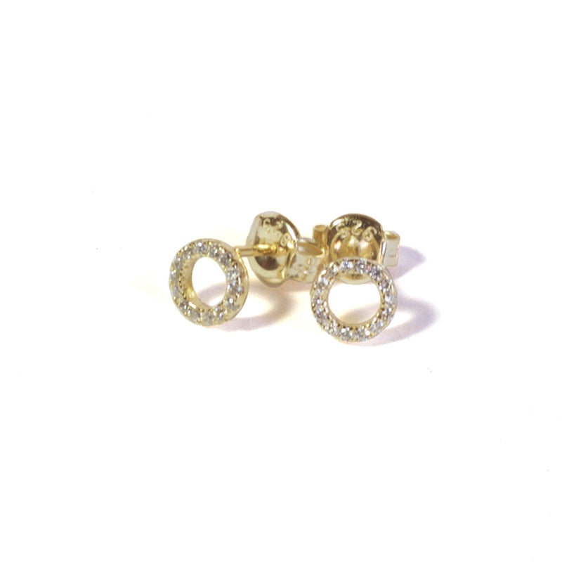 CZ Donut Earrings with posts in - Yellow Gold