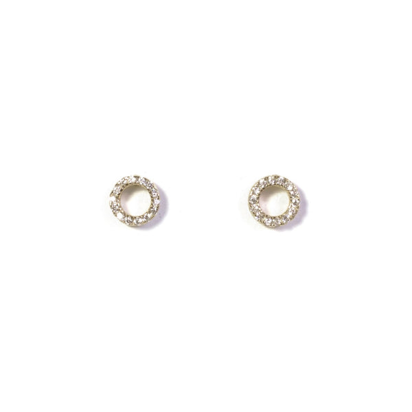 CZ Donut Earrings - Yellow Gold