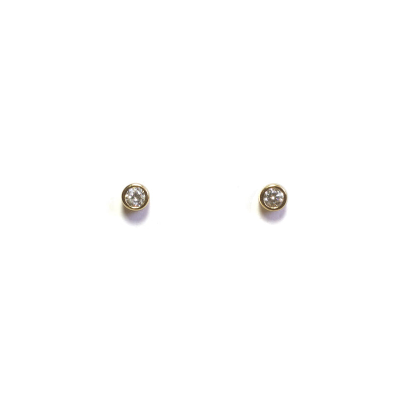One CZ stud Earrings - Yellow Gold