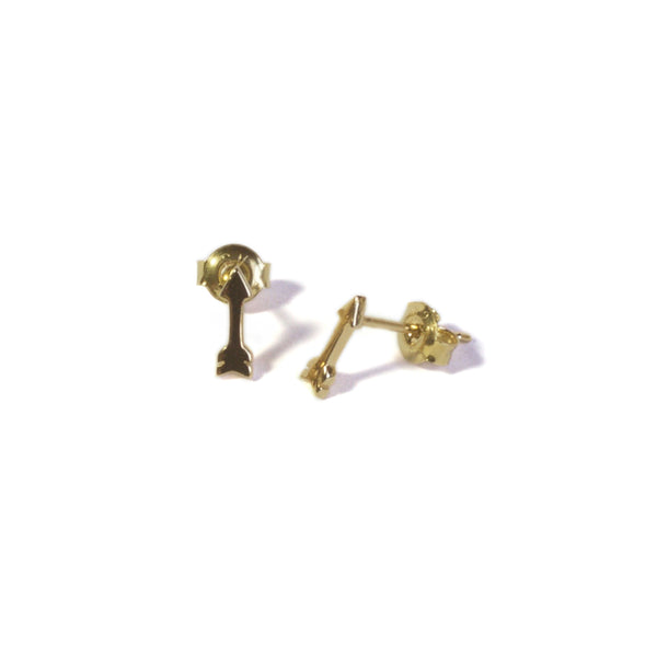 Small Arrow Yellow Gold Earrings with posts in
