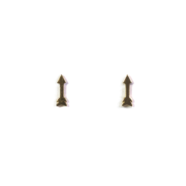 Small Arrow Yellow Gold Earrings
