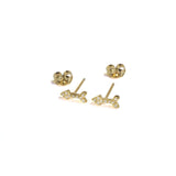 Small CZ Arrow Yellow Gold Earrings with posts in