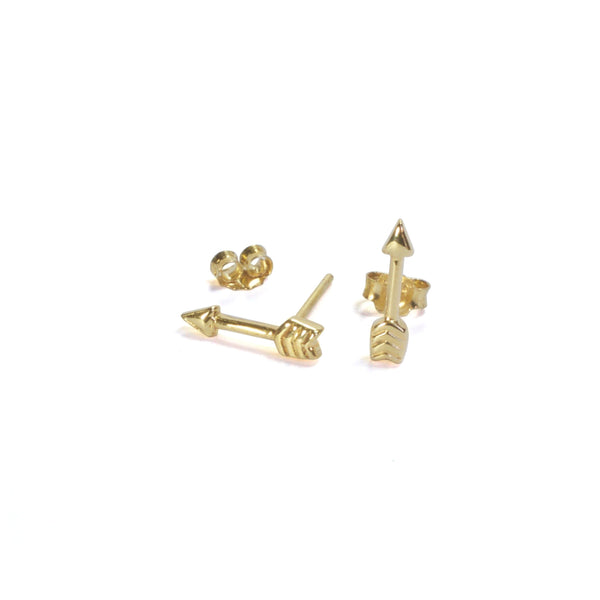 Large Arrow Yellow Gold Earrings with posts in