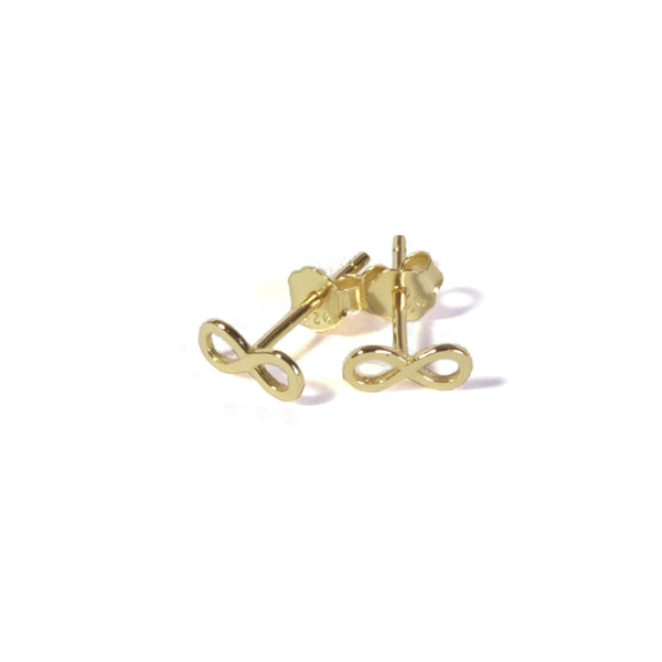 Small Infinity stud earrings with posts in  - yellow gold