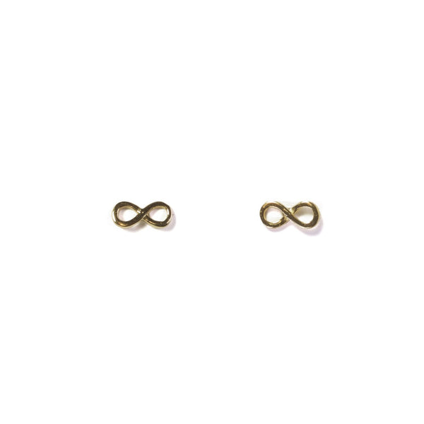 Small Infinity stud earrings  - yellow gold