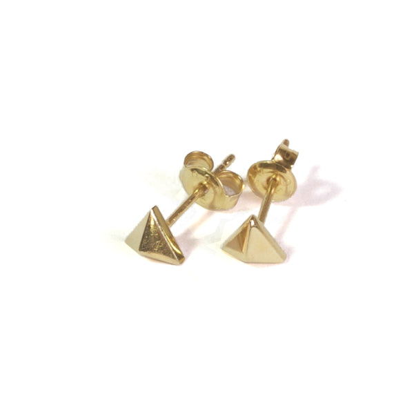 Large Triangle Earrings with posts in - yellow gold