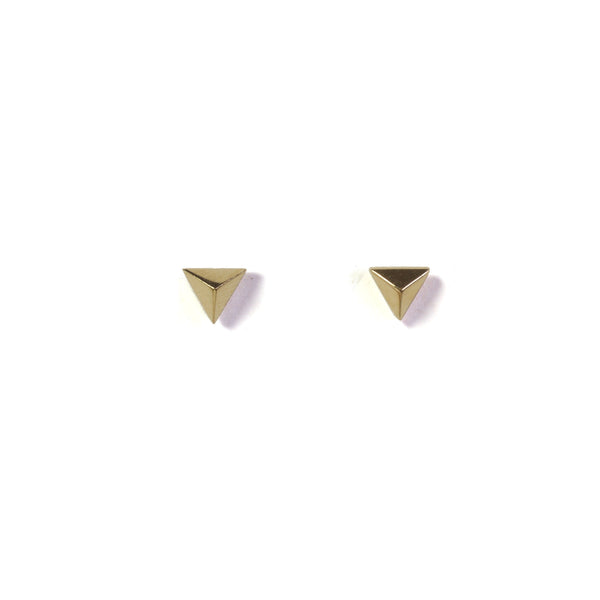 Large Triangle Earrings - yellow gold