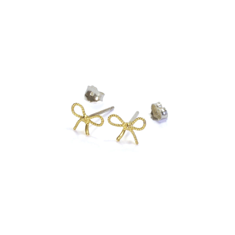 Bubble Ribbon Earrings with posts in - yellow gold