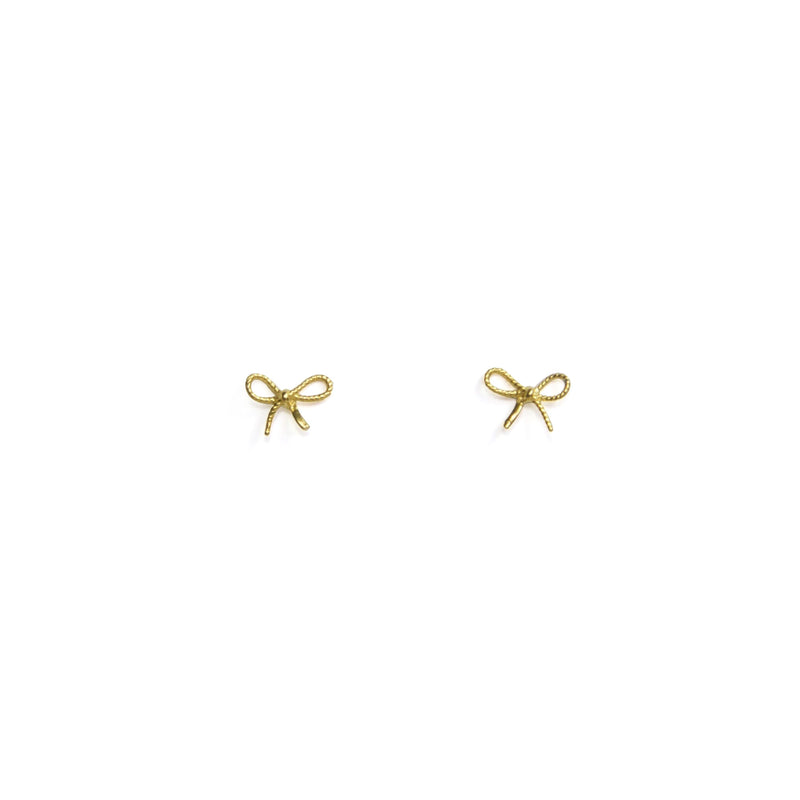 Bubble Ribbon Earrings - yellow gold