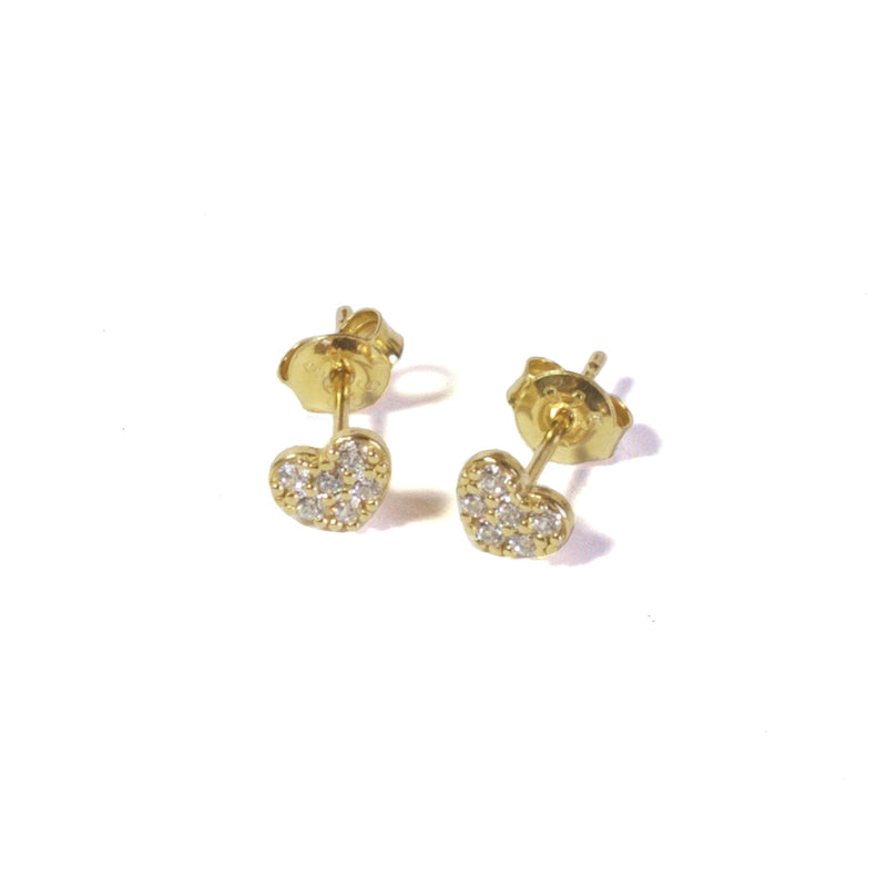CZ Heart stud earrings with posts in - yellow gold