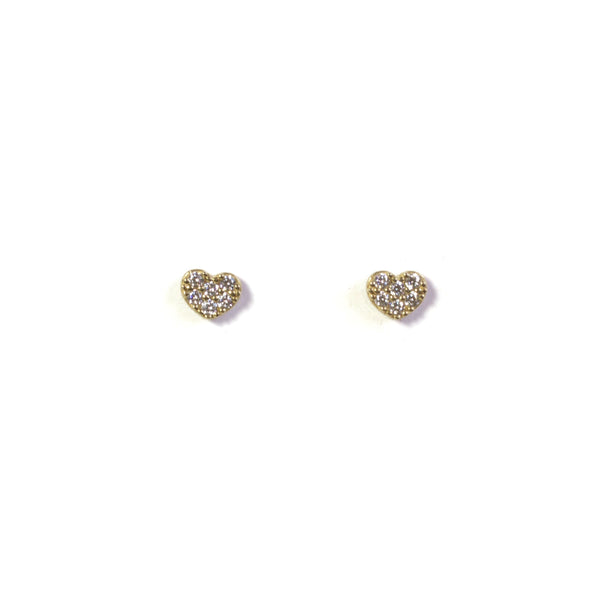 CZ Heart stud earrings - yellow gold