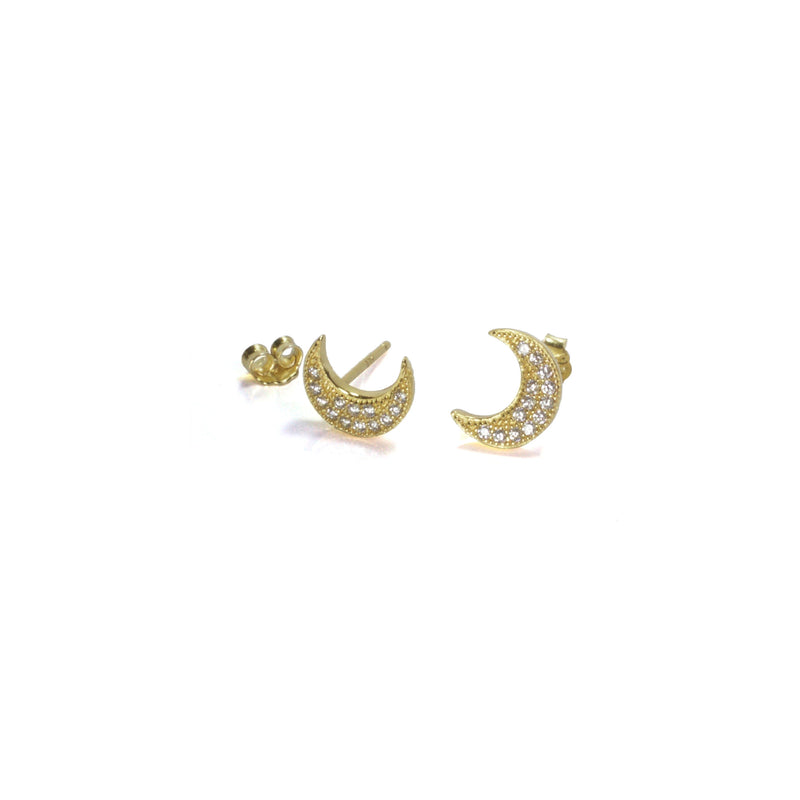 Large CZ Moon Earring with posts in - yellow gold