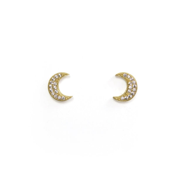 Large CZ Moon Earring - yellow gold