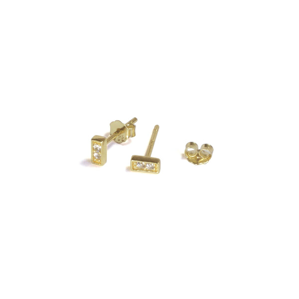 Small CZ Bar Earrings with posts in - yellow gold, clear