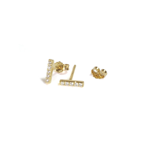 Medium CZ Bar Earrings with posts in - Yellow Gold