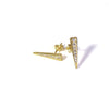 CZ Horn Bar Earrings with posts in - yellow gold