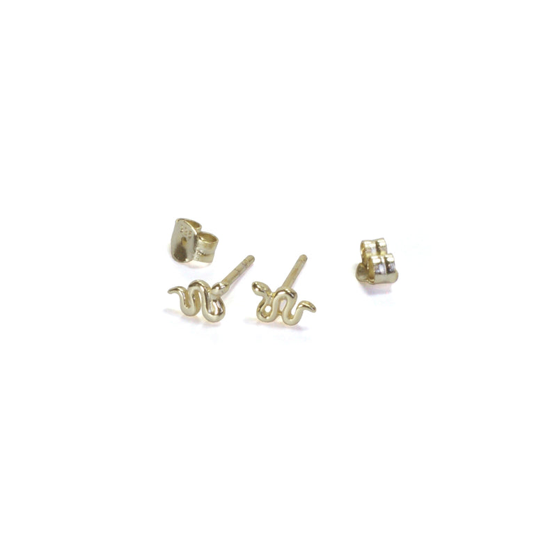 Snake Stud Earrings with posts out - yellow gold