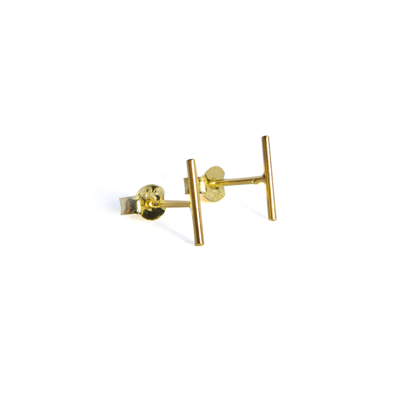 Small Skinny Bar Earrings - Yellow gold