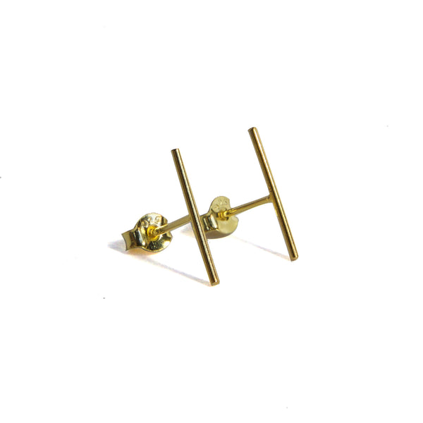 Large Skinny Bar Earrings - Yellow gold