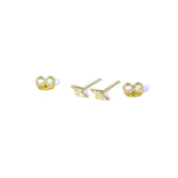 CZ Lightening Earrings Alternate - Yellow gold