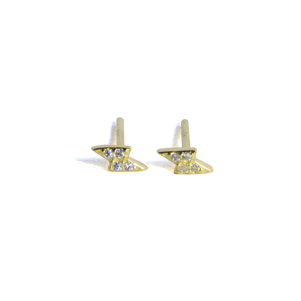 CZ Lightening Earrings - Yellow gold