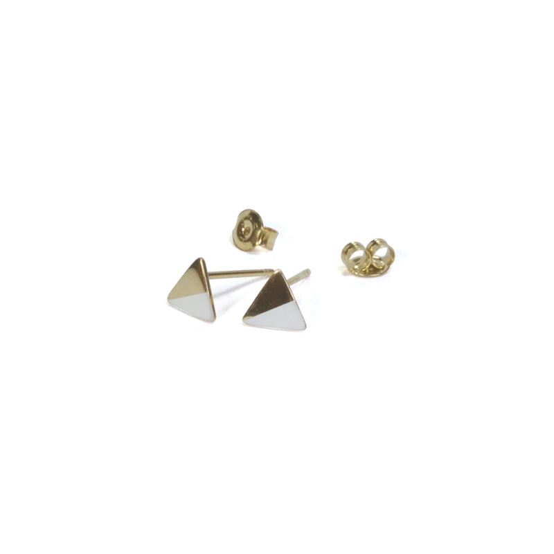 Gold Triangle with Enamel Earrings with posts in - White