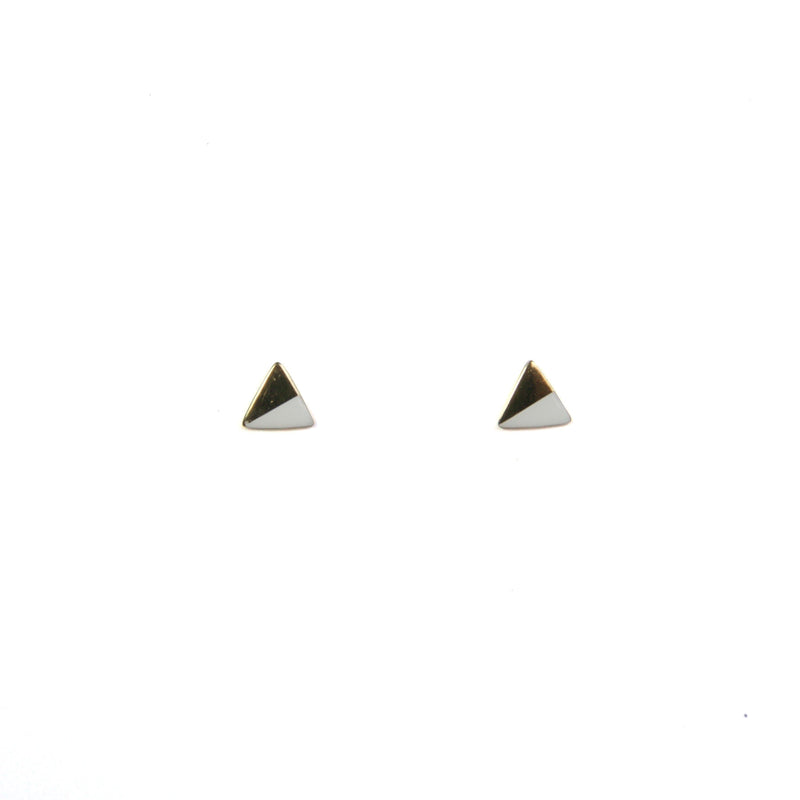 Gold Triangle with Enamel Earrings - White