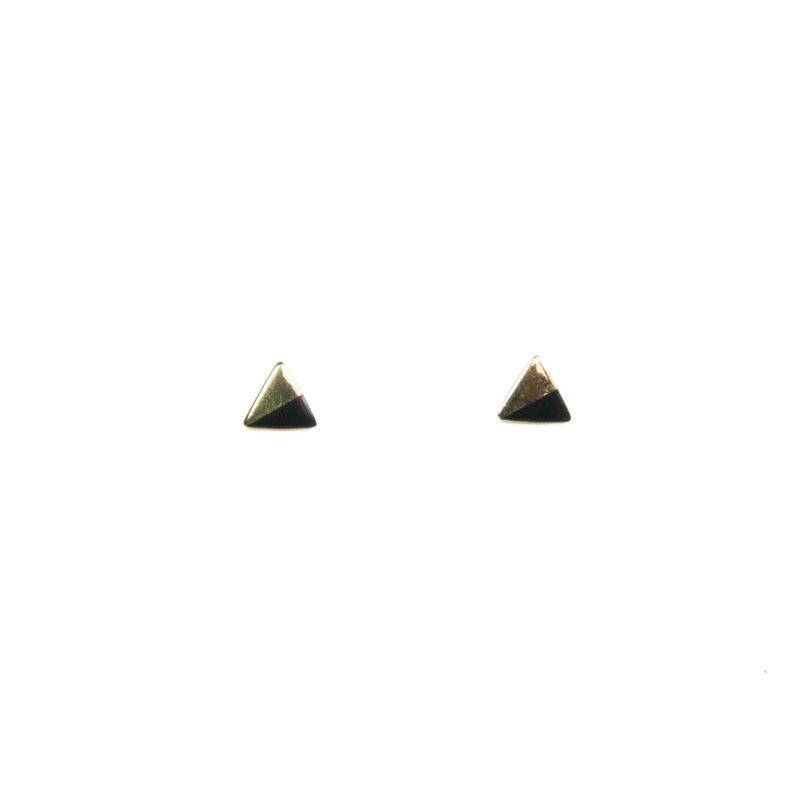 Gold Triangle with Enamel Earrings - Black