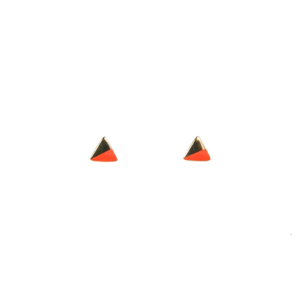 Gold Triangle with Enamel Earrings - Orange