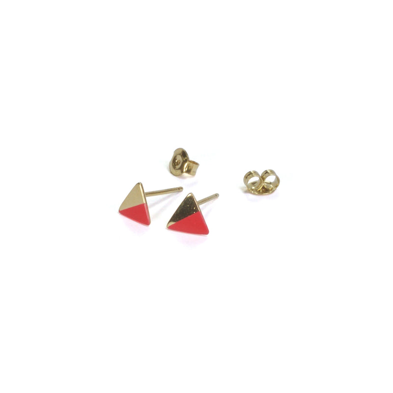 Gold Triangle with Enamel Earrings with posts in - Pink