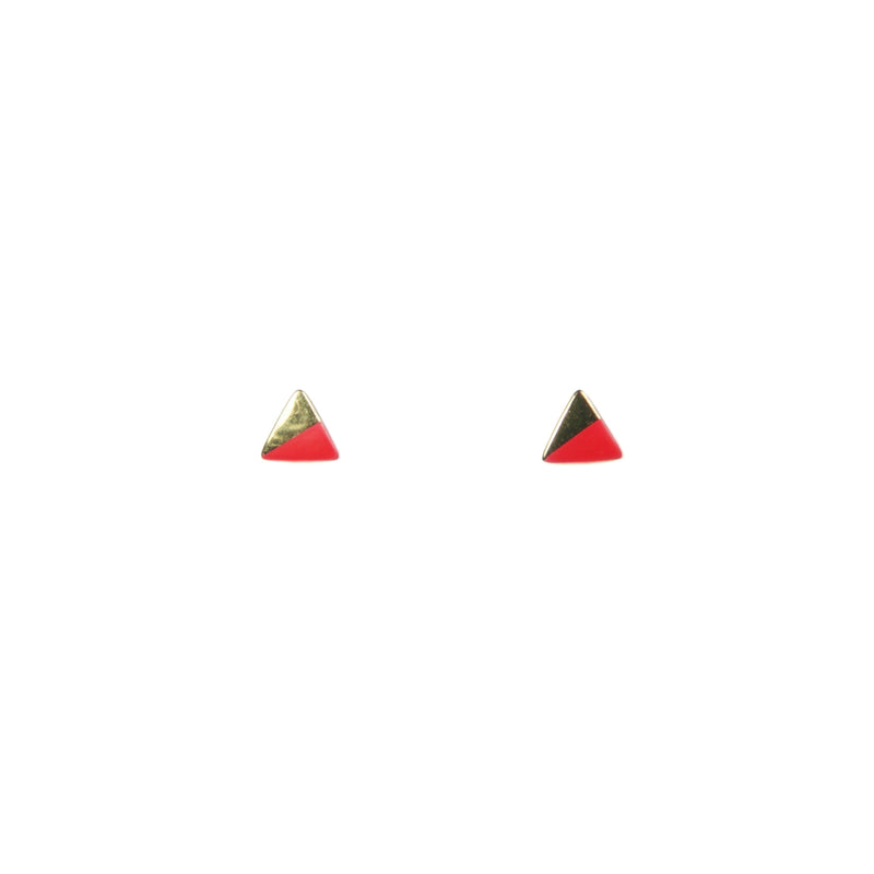 Gold Triangle with Enamel Earrings - Pink
