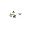 Gold Triangle with Enamel Earrings with posts in - Mint