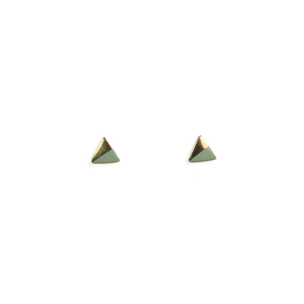 Gold Triangle with Enamel Earrings - Mint