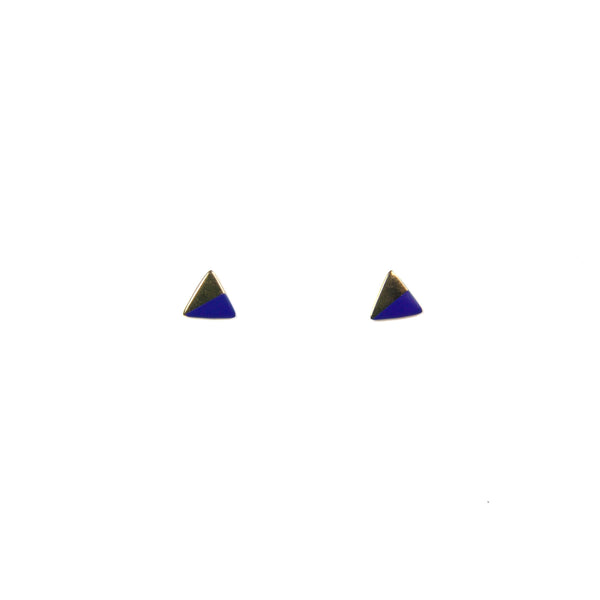Gold Triangle with Enamel Earrings - Blue