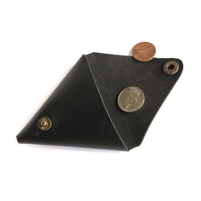 Leather coin purse black open