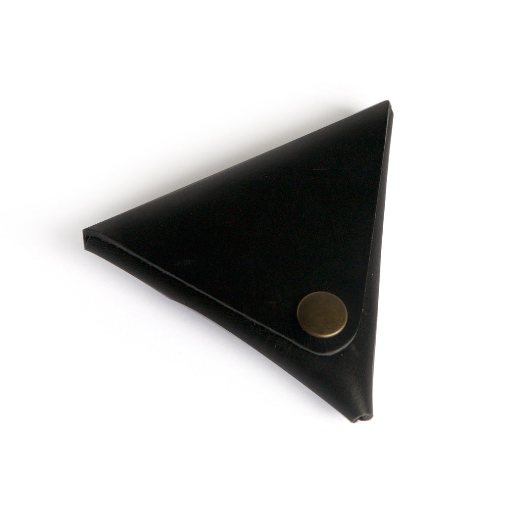 Leather coin purse black closed