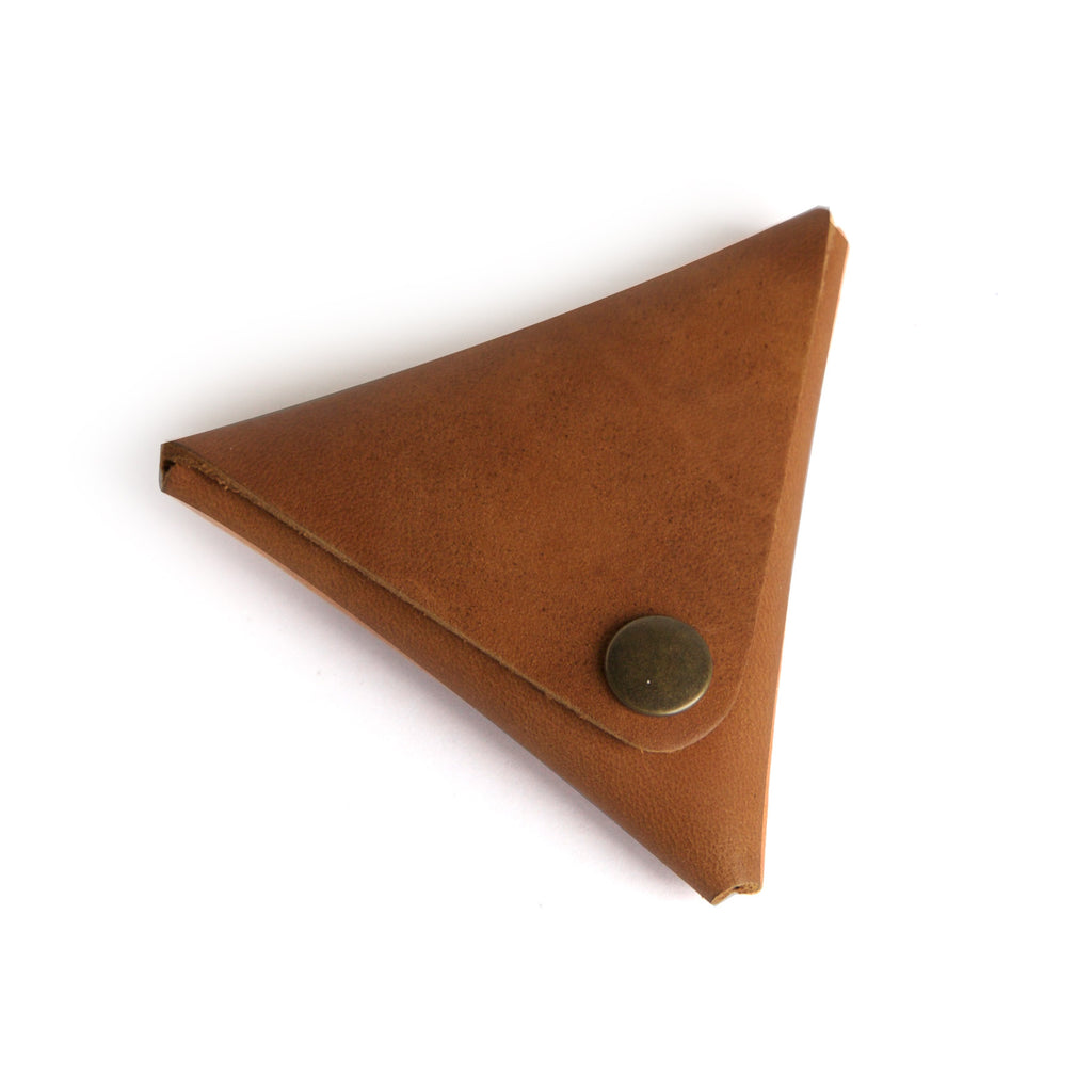 Leather coin purse brown closed