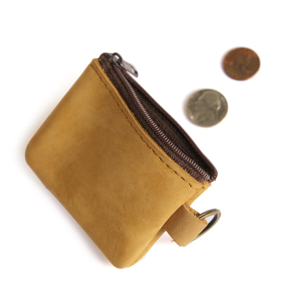 Small Suede Coin Purse Open