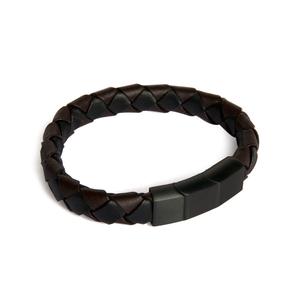 Men's Two-tone Leather Braided Closed