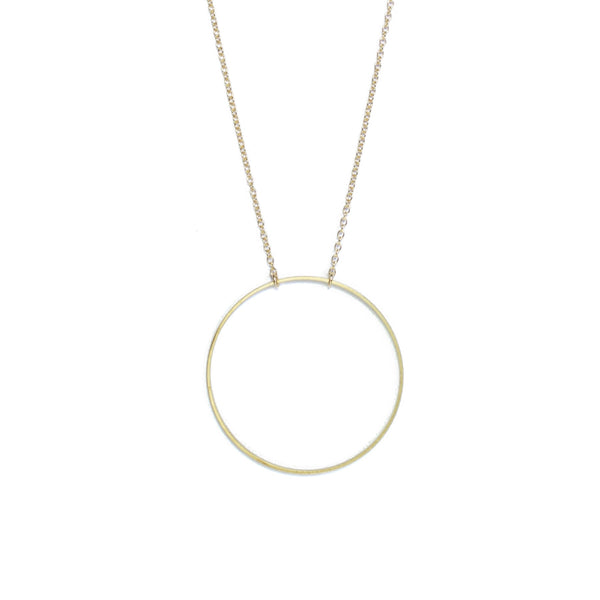 Brass Large Circle Long Necklace