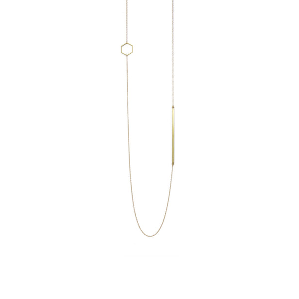 Brass Hexagon and Bar Long Necklace