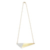 Brass Triangle and Enamel Necklace - White Closure