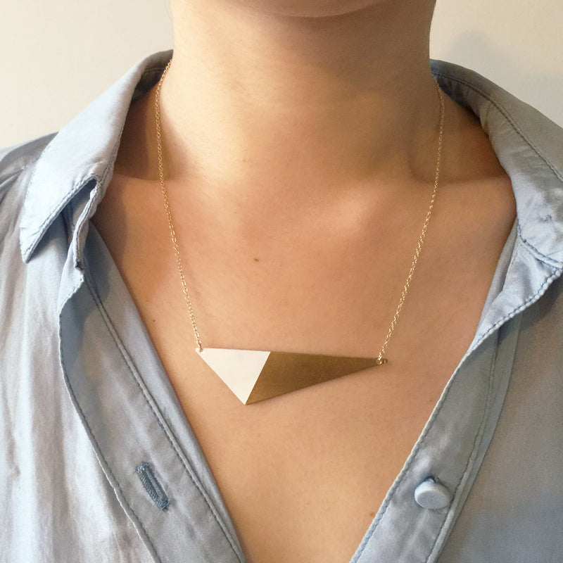 Model wearing Brass Triangle and Enamel Necklace - White