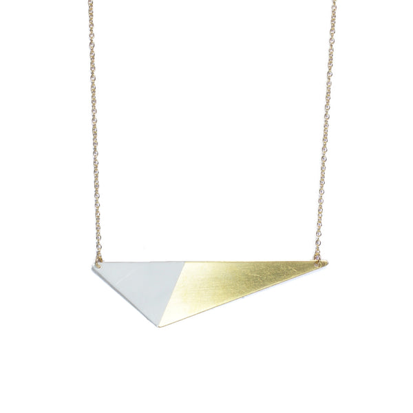 Brass Triangle and Enamel Necklace - White