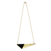 Brass Triangle and Enamel Necklace - Black Closure