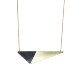 Brass Triangle and Enamel Necklace - Black