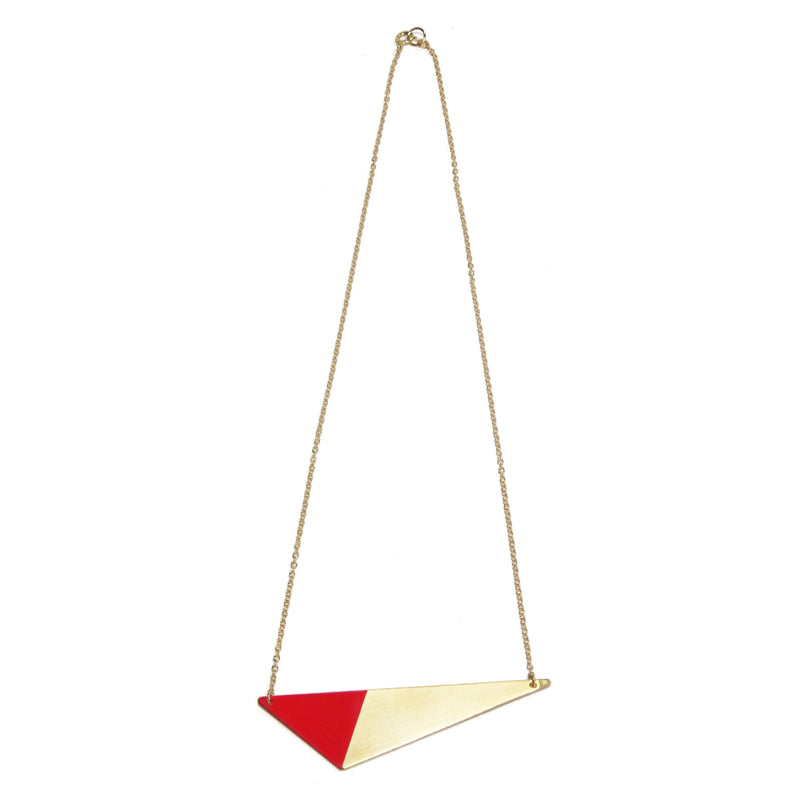 Brass Triangle and Enamel Necklace - Red Closure